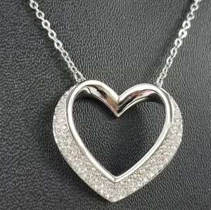 Swarovski silver tone heart Shaped pendant chain